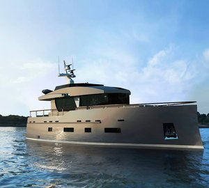 New motor yacht Bering 70 under construction at Bering Yachts