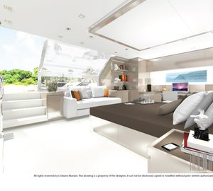 Images of owner's suite aboard Project MY385_CMA Yacht by Cristiano Mariani Architect