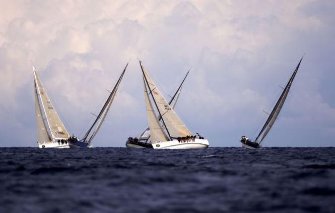 2006 Rolex Swan Cup - The Swan 45 fleet cross tacking upwind