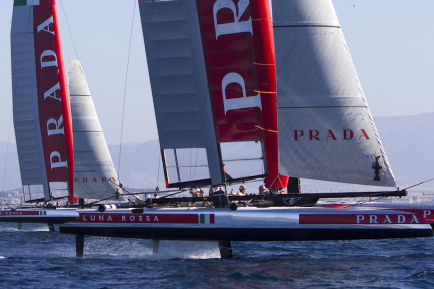 Luna Rossa Challenge on a testing session with two foiling AC45 catamarans. Photo by Luna Rossa Challenge
