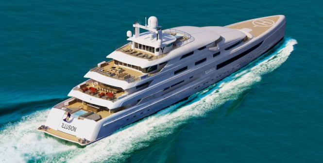 Rendering of the 88,8m superyacht Illusion under construction at Pride Mega Yachts