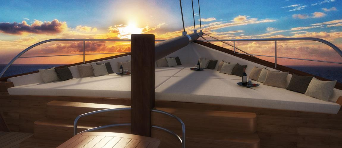 Rendering of the main deck - Super Yacht LAMIMA