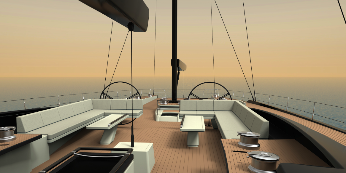 Sailing Yacht SAMURAI - Huisfit - ext rendering by Rhoades Young Design