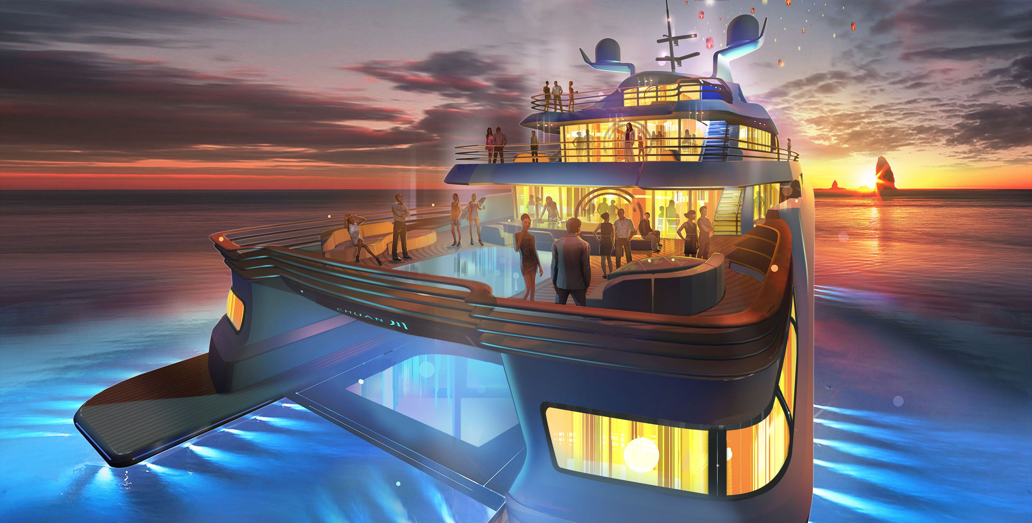 Super yacht Project Chuan - aft view
