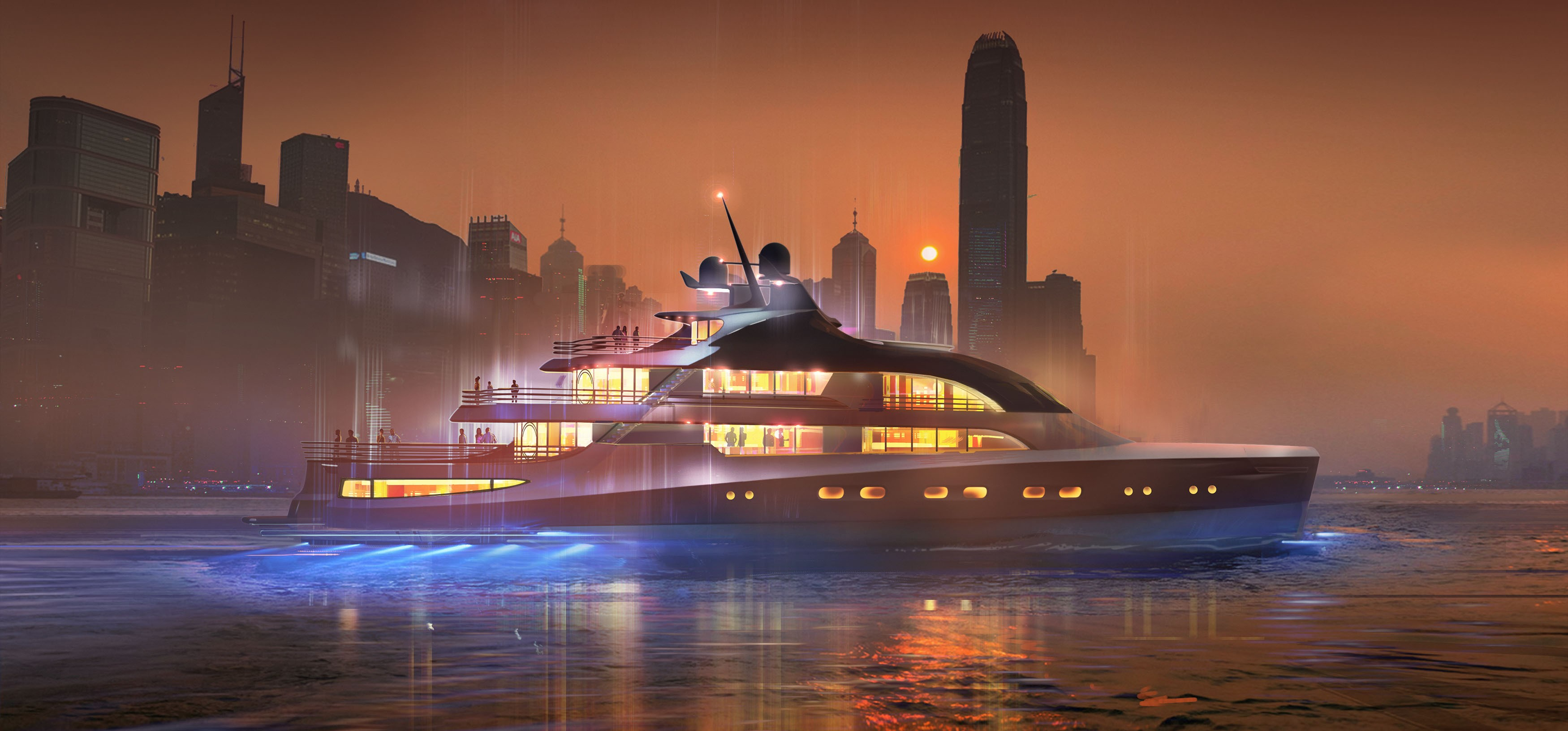 Superyacht Project Chuan by night