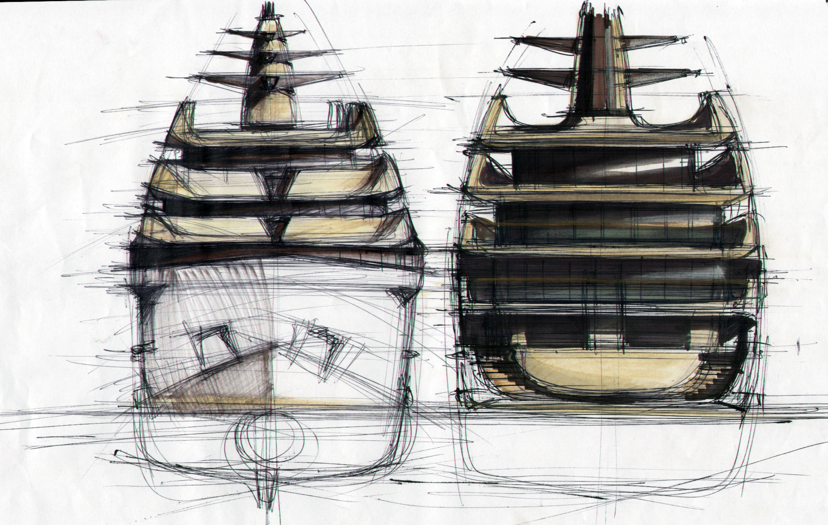 Tankoa superyacht S801 concept - Sketches