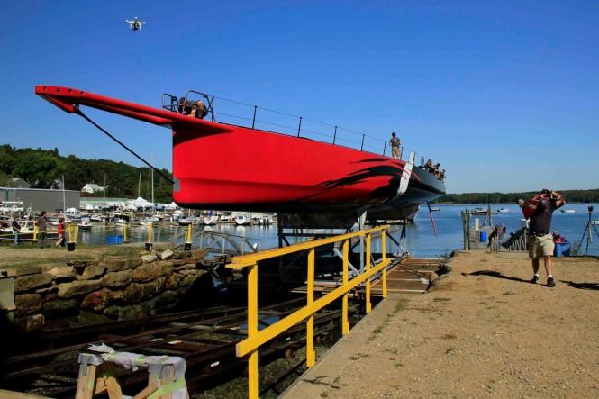 100ft sailing yacht Comanche at launch