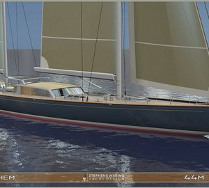 Additional renderings of 44m Spirit of Tradition sailing yacht ANTHEM concept by Stephens Waring Yacht Design
