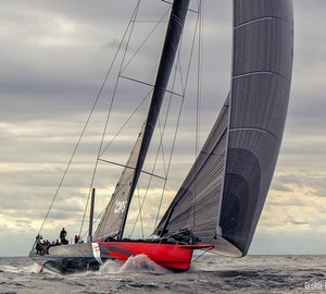 Initial testing for 30,5m Hodgdon racing yacht COMANCHE in Newport, Rhode Island