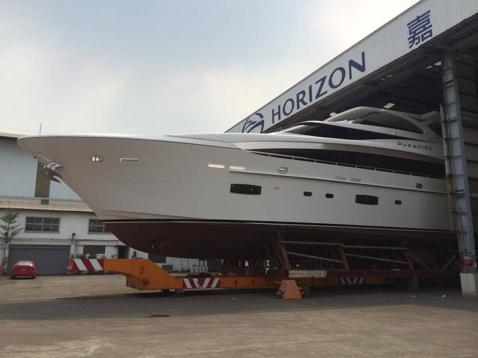 Horizon RP110 superyacht Paradise at launch - Image credit to Mark Western