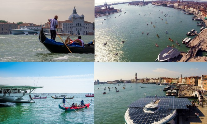 PlanetSolar cruising the waters of Venezia in Italy