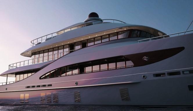 Rendering of explorer yacht Z164 by Zeelander