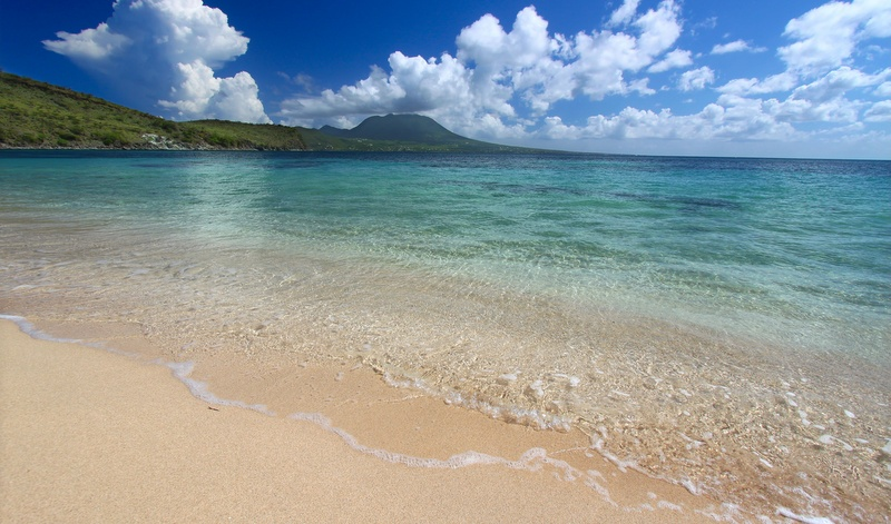 Secluded beach on St Kitts