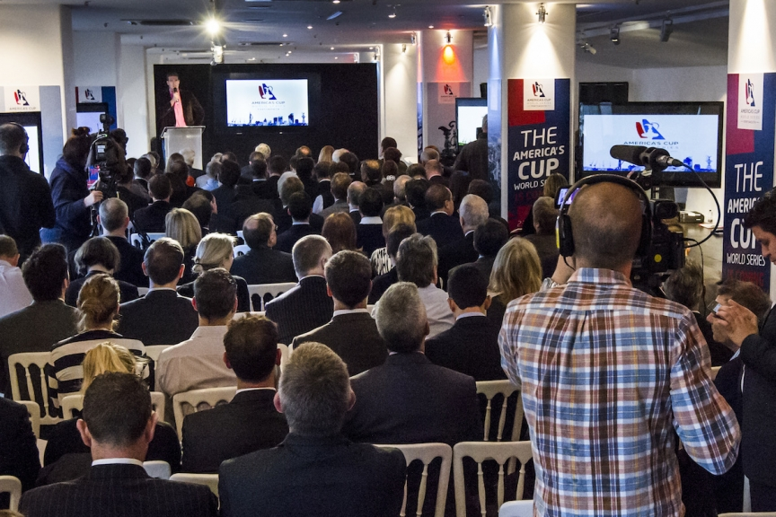 Announcement of America's Cup World Series Portsmouth, 2015 and 2016 in London England. Photo credit to Ian Roman