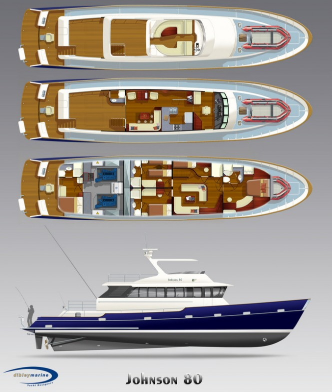Luxury motor yacht Johnson 80 - Profile and Accommodation Layout