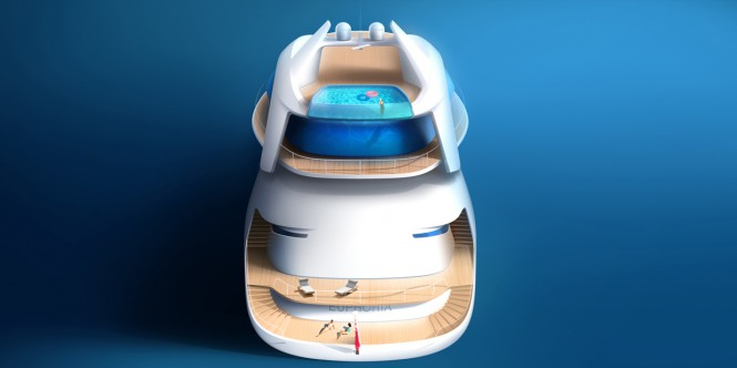 Luxury yacht Euphoria concept - aft view