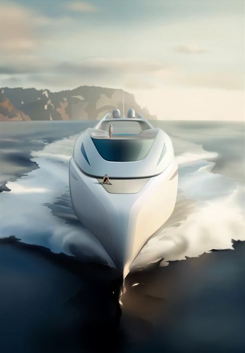 Luxury yacht Euphoria concept - front view