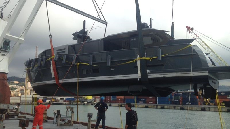 Motor yacht Arcadia 85 US Edition (hull #8) by Arcadia Yachts at launch