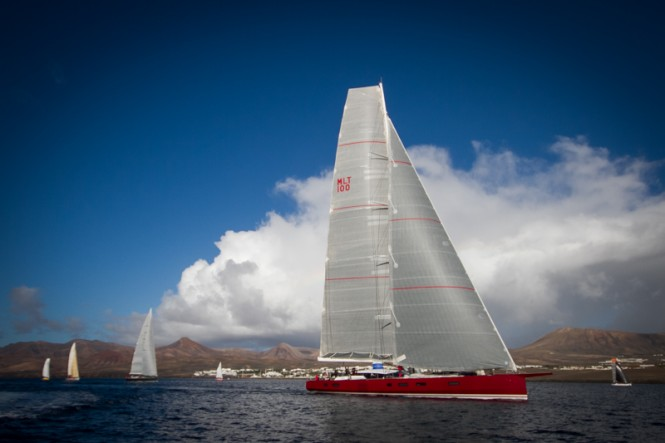 Nomad IV superyacht at the start of the RORC Transatlantic Race, leaving Lanzarote © Puerto Calero James Mitchell