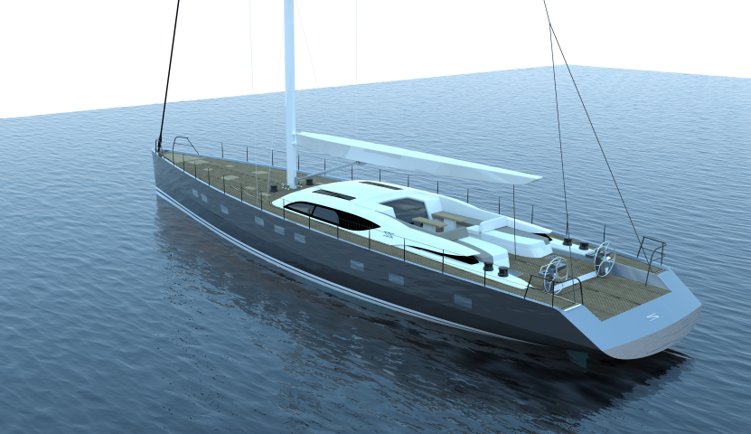 SAILING 30.30m superyacht concept - aft view
