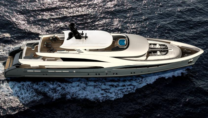 Super yacht SARP58 from above