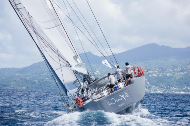 Windfall, the Russian chartered Southern Wind 94, skippered by Fabrizio Oddone put up a fight to the finish with Lupa for Line Honours. Some of the Russian sailors completed their Ocean Yachtmaster during the crossing
