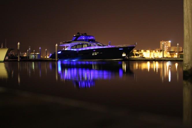 Algorythm yacht at night
