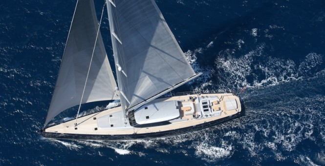 Blue Papillon superyacht - Top View - Photo by Flypictures