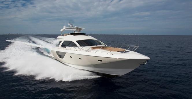 Cheoy Lee's Alpha 76 Flybridge yacht at full speed