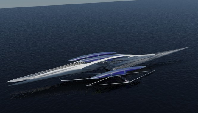 Fresnel Hydrofoil Trimaran – A futuristic solar-powered yacht designed by architect Margot Krasojevic