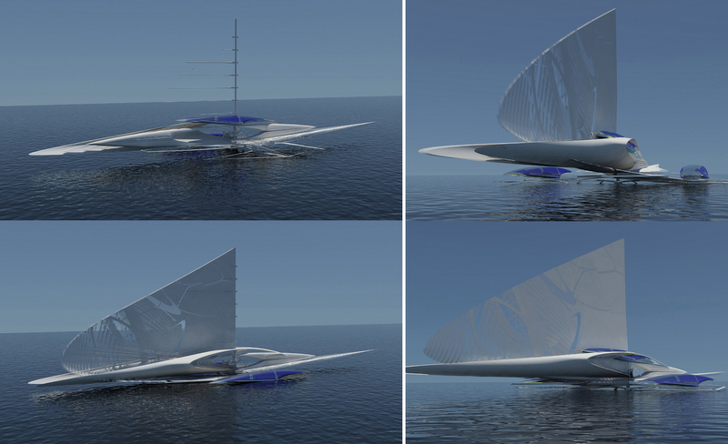 Fresnel Trimaran yacht by Architect Margot Krasojevic