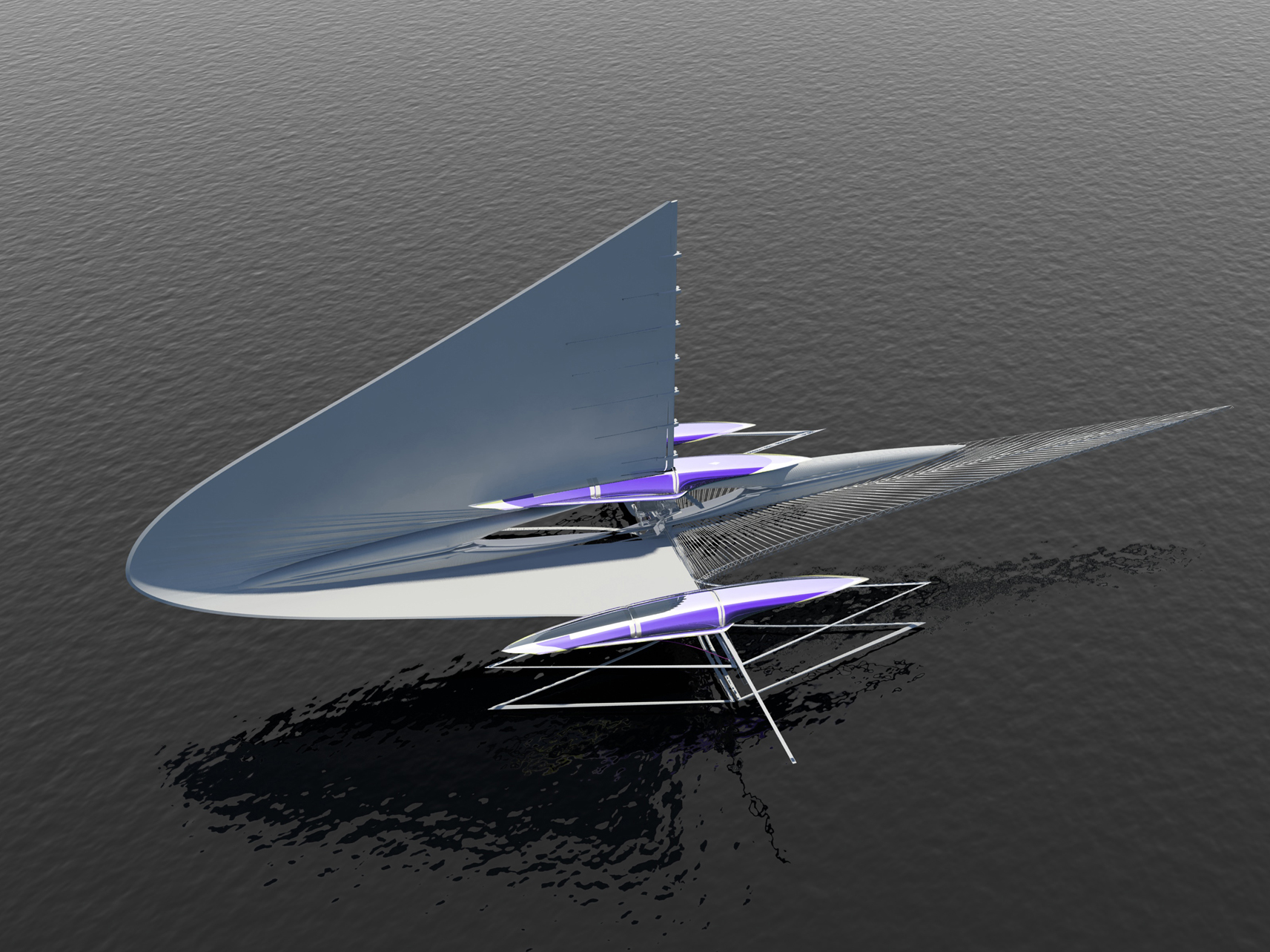 Fresnel Trimaran yacht from above
