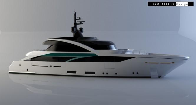 SLeek 39m superyacht design - side view