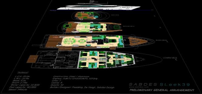 Super yacht SLeek 39m concept - General Arrangements