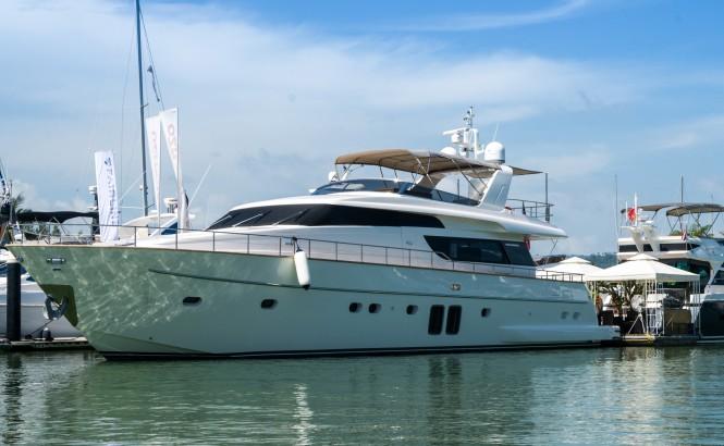 The Sanlorenzo 72 Asian debut at PIMEX, displayed by Derani Yachts