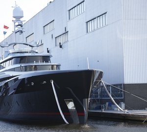 New 46m motor yacht KISS (hull #689) launched by Feadship on Valentine's Day