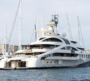 96m Blohm + Voss Motor Yacht PALLADIUM moored at Club de Mar Mallorca