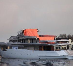 Bannenberg & Rowell-designed 70m motor yacht Hull 812 enters dry dock at Feadship Royal van Lent yard