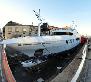 Mega yacht ANDREAS L and superyacht RAHIL under refit at T. Mariotti Shipyard