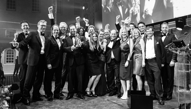 The team responsible for Madame Gu celebrate winning the Motor Yacht of the Year Award in 2014