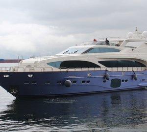 Motor yacht CORONA (ex Jetaime Too) under refit at KRM Yacht