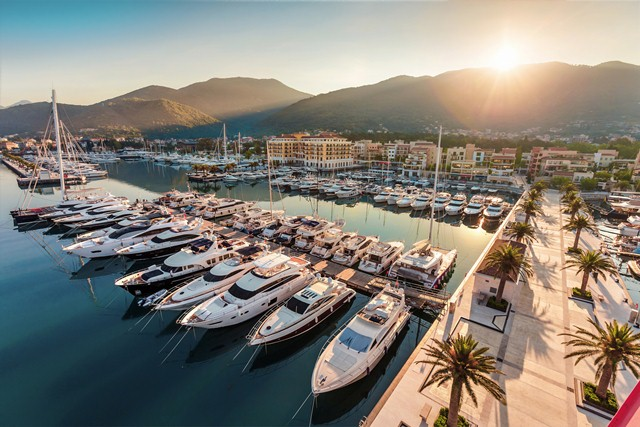 Bay of Kotor's marina is vying to become Europe's leading marina with 180m berths and significant tax and fuel discounts.Image courtesy of Porto Montenegro