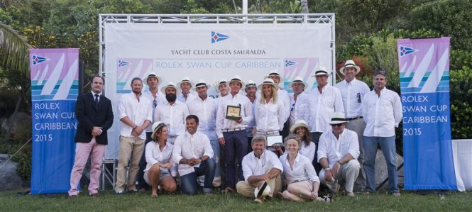 Crew of Swan 80 SELENE (CAY) at the final prizegiving. Class A winner at 2015 Rolex Swan Cup Caribbean - Photo by Rolex Carlo Borlenghi