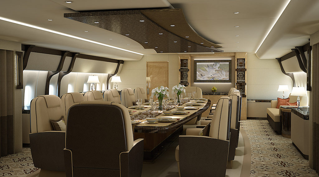 Greenpoint Boeing 747-8 Private Jet - Dining Forward - Image credit to Greenpoint Technologies