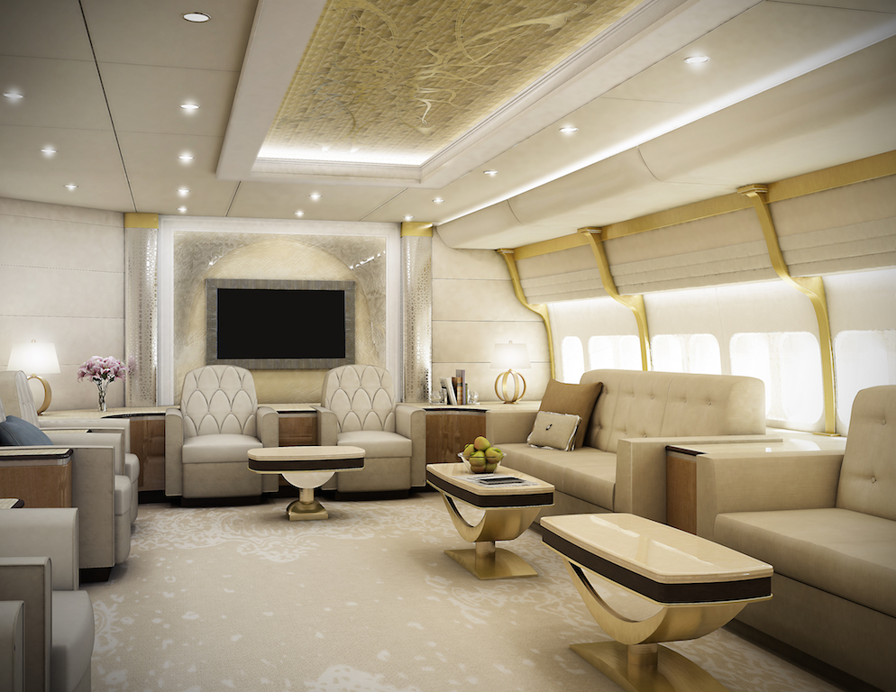 Greenpoint Luxury Private Jet 747-8 -Lounge Forward - Image credit to Greenpoint Technologies