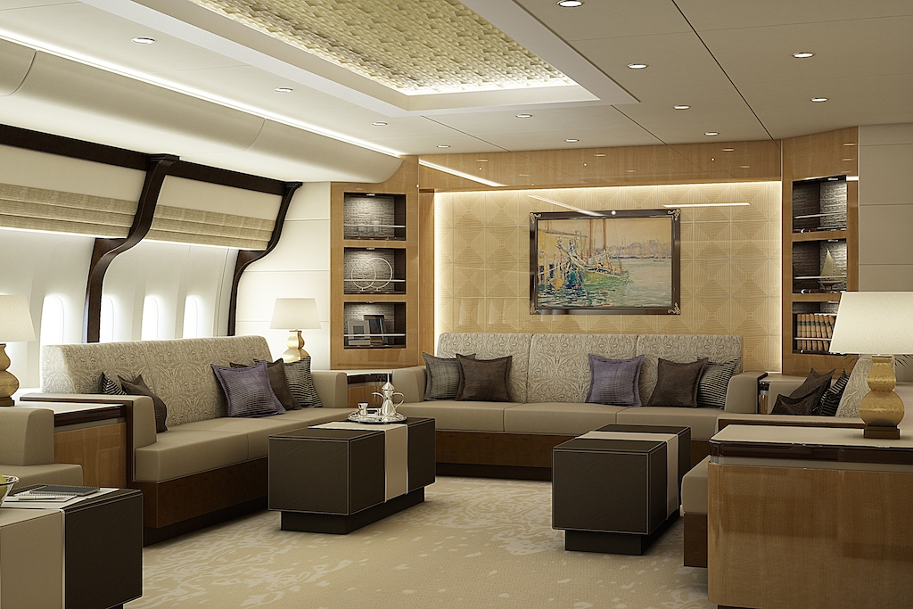 Greenpoint Private Jet Boeing 747-8 Lounge AFT - Image credit to Greenpoint Technologies