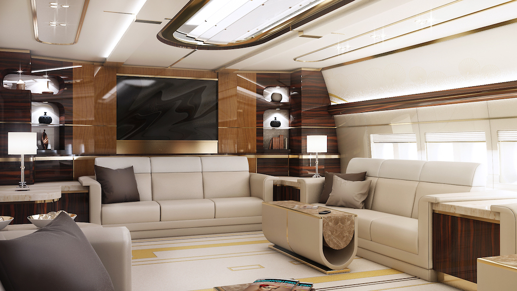 Greenpoint Private Jet Boeing 747-8 - Lounge - Image credit to Greenpoint Technologies