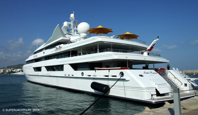 Luxury motor yacht INDIAN EMPRESS in Marina Ibiza in August 2014 - Photo by Piotr Rutkowski