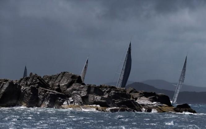 Rain squall during Day 2 Coastal Race. Rolex Swan Cup Caribbean 2015. © Rolex/Carlo Borlenghi