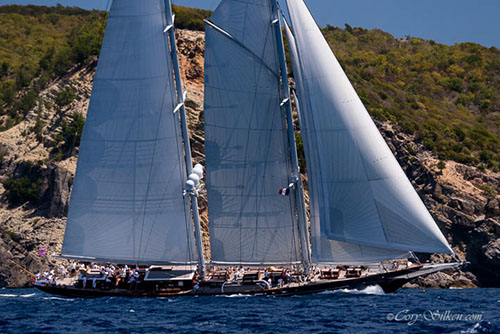 Sailing yacht Meteor at the 2015 St. Barths Bucket - Photo by Cory Silken